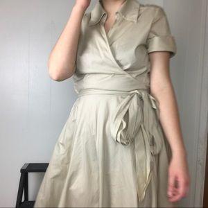 vintage tan wrap midi dress